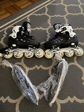 Scale Sports Kids Inline Skates Black/White Adjustable Size 4-6
