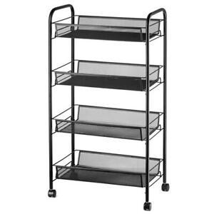 4 Tiers Storage Cart Bedroom Bathroom Kitchen Shelf Metal Rolling Trolley Cart