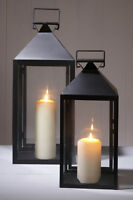 SET OF TWO CANDLE LANTERNS BLACK HOME OR GARDEN WEDDING HALLWAY PATIO