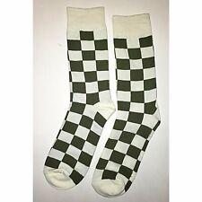f029581500f5 NWT White Green Checker Dress Socks Novelty Men 8-12 White Fun Sockfly