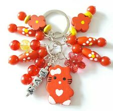 New Handmade Red Wooden Acrylic and Glass Beaded Cat Cluster Keyring Bag Charm.