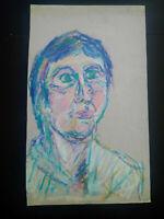 Grand portrait psychédelique années 1970 visage homme fusain crayon de couleur