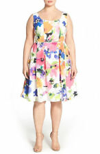 Adrianna Papell White and Multi Floral Fit & Flare Dress Plus Size 6Petite