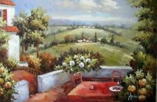 New ListingItalian Home Patio Landscape Tuscany Farm Hill View 24X36 Oil Painting Stretched