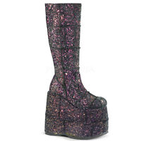 Demonia STACK-301G Men's Black Multi Glitter Platform Side Zip Knee High Boots