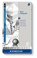Staedtler mars lumograph tin of 12 drawing pencils 6B to 4H for design and dra