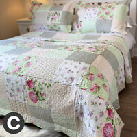 Luxury Pink Green Floral Patchwork Quilted Bedspread Set Double King Super King