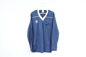 NOS Vintage 80s Umbro Mens Large Spell Out Long Sleeve Soccer Jersey Navy Blue