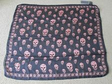 NWT Auth Alexander McQueen Navy Blue Pink Skull Print Silk Chiffon Scarf $295