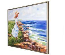 Original Ölgemälde Gemälde Rahmen Mädchen am Meer oil painting girl ocean 124cm