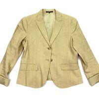 Theory Women's Linen 2-Button Blazer Jacket Peak Lapel Tan Khaki • Size 10