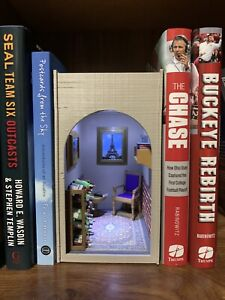 Wine And Book themed book nook with LED light (Handmade, Original)