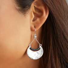 CHLOE AND ISABEL Hero Metal and Leather Crescent Earrings NEW & AUTHENTIC
