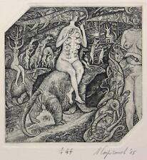 THE WITCH Original etching by Leonid STROGANOV, Russian Ex Libris Artist genre