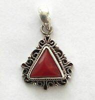 Sterling Silver Traditional Asian Vintage Style Handmade Coral Stone Pendant