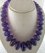 1494 CTS NATURAL AMETHYST CARVED MELON BEADS NECKLACE WITH SILVER HOOK
