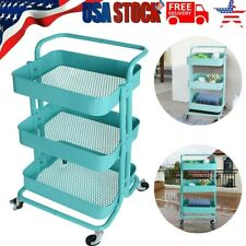 3-Tier Metal Utility Service Cart Rolling Storage Shelves with Handles Usa Y198