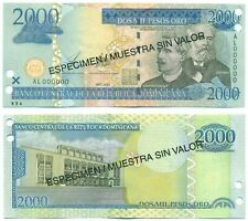 DOMINICAN REPUBLIC NOTE 2000 PESOS ORO 2003 SPECIMEN P 174s UNC