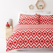 New Ikat Coral Red Queen Size Quilt / Doona Cover Set In 2 Linen Covers