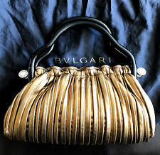 BVLGARI STUNNING MINT NEVER USED GOLD AND BROWN LEATHER EVENING BAG