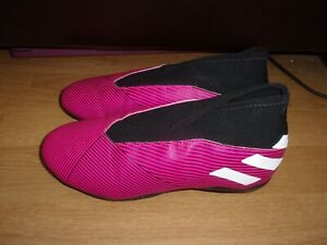 Adidas Nemeziz 19.3 Laceless Pink, Black & White football boots size 2.5