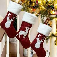 1pcs Elk Christmas Stocking Sock Candy Gift Bag Xmas Tree Hanging Ornament  Top