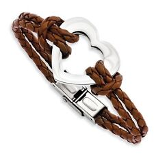 Stainless Steel Heart Bracelet With Genuine Leather Cords