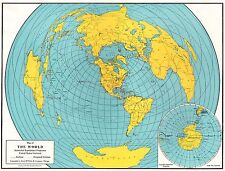 1947 Antique World Map Vintage Map of the World Globe Gallery Wall Art 5462