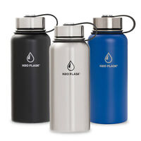 H20 Flask Water Bottle Stainless Steel Insulated Wide Mouth with Lid & Straw