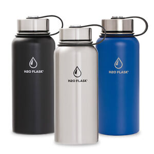 H20 Flask Water Bottle Stainless Steel Insulated Wide Mouth with Straw Lid