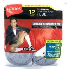 HANES Cushion Over-The-Calf Tube 12 Pair Pack Reinforced Toe  Sz 6-12