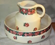 RARE  Antique Wash Basin & Pitcher from Villeroy & Boch Niemeyer Mettlach Roses