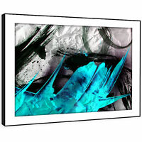 AB1095 Blue black Modern Retro Abstract Framed Wall Art Large Picture Prints