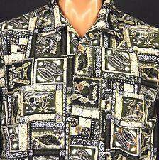 OP Sport Hawaiian Aloha Shirt Large Tiki Sea Shells Tapa Huts Marlin 100% Cotton