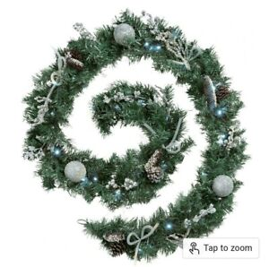 Pre-Lit Decorated Garland Illuminated with 40 Bright White LED Lights, 9 ft