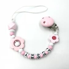 Personalized pacifier clip Binky holder Wooden Girl baby name Dummy Clips