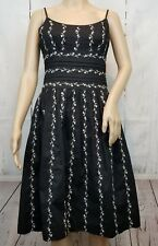 Ann Taylor Womens Dress Sz 2 Black White Floral Print Side Zip Lined Fit & Flare