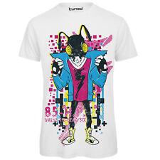 T-Shirt Divertente Uomo Maglietta con Stampa Colorata Disegno Alieno Dance Tuned