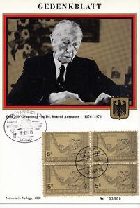 YEMEN ARAB REPUBLIC 1979 ☀ AIR MAIL Map Dr. Konrad Adenauer 100th birt FDC sheet