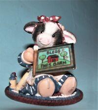 "Enesco Mary's Moo Moos figurine #63462 cow, sign ""Bless This Barn"" 1999, NIB"