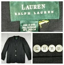 Women's RALPH LAUREN Black Linen Blazer Lined Jacket Size Tag Missing Career