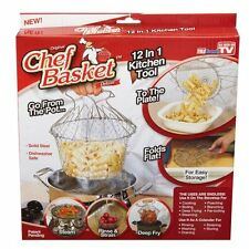Chef Basket 12 in 1 Kitchen Tool for Cook, Deep Fry, Boiling Solid Steel Delux