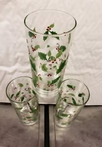 3 Libbey Holly Berry Leaves Drinking Glasses Christmas 12 oz. Highball Tumbler