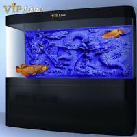 Blue Relief Dragon Aquarium Background Poster PVC Fish Tank Decor Landscape