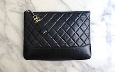 *NEW CHANEL | GABRIELLE Quilted Black Leather Clutch Pouch Bag