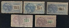 France 1918 Copies Revenues Timbre Imperfs Copies Lot Of 5