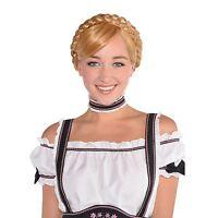 Ladies Bavarian German Beer Oktoberfest Girl Wig Fancy Dress Costume Accessory