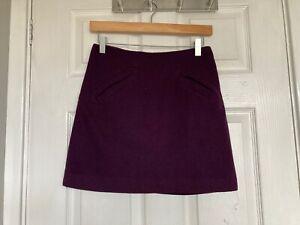 H&M Women's Deep Purple Wool Blend Lined Skirt Size Eur 34 (size 6)