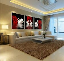 Home Decor Wall Art Painting Red Rose Flower Swan Picture Oil On Canvas no frame
