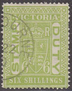 VIC 6s apple-green Stamp Duty, CTO. SG 239a